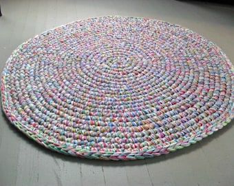 area rug| 3ft round rug| crochet yarn rug| girls room|  nursery home decor|