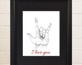 ASL Art, Sign Language Art, Watercolor Painting, Watercolor Print, ASL Alphabet, ASL I love you, Sign Language I love You, I love you Hand