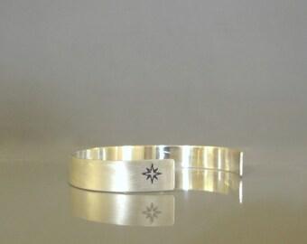 Sterling silver mens cuff bracelet, Silver nautical bracelet, Hand stamped cuff bracelet, Mens nautical bracelet, Men's jewelry