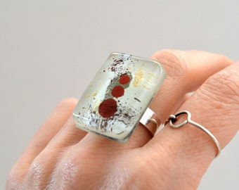 Big ring, Chunky fused glass, Handcrafted unique gifts for women, Summer jewelry, Adjustable ring, Ready to ship