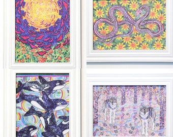 Choose Any 4, Greeting Cards, Eco-Friendly, Nature Art, Tree Medicine, Animal Beings, Colorful Drawing, Vegetable Inks, Earth Loving Art