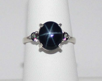 3.1-ct Blue Star Sapphire Sterling Silver Ring with Mystic Topaz Accents / Blue Star Sapphire Ring