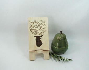 Cell Phone Stand. Tablet Stand. Docking Station. Phone Holder. Deer Art. Kitchen Accessory. Charging Station. Deer Antler
