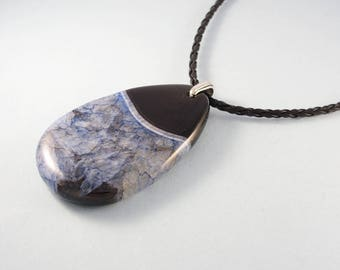 Black and blue stone necklace - druzy agate pendant with silver chain or black leather cord