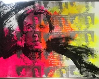 Stay Gold I, Emma Goldman Portrait, Mixed Media Screenprint, Framed