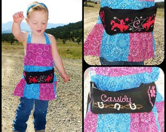 EpiPen Case Waist Pack  Bronco Horse Cowgirl Epi Pen Belt Custom Personalized with Embroidered Emergency Instructions Inside