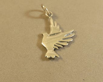 FLYING DOVE Charm .925 Sterling Silver Double Sided Pendant Bird Love Wedding Peace Christian Faith New bi43