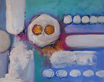 "Modern Art, Original, Abstract Acrylic Art, Contemporary Mid Century 12"" x 16"""
