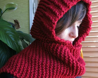 Mixed Garnet Red Hooded scarf!