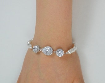 Bridal Cubic Zirconia Crystal Bracelet, Swarovski Pearls, Sterling Silver Chain and Clasp, Rose Gold Filled - Ships in 1-3 Business Days