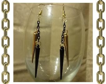 Gold & Black Spike Earrings - 1 Pair
