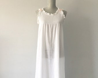 Vintage White Cotton Night Gown