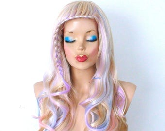 Holographic hair. Pastel wig. Blonde Ombre wig. Durable heat friendly wig for everyday wear or Cosplay