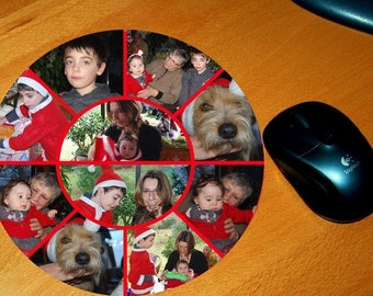 Round mouse pad personalized with 10 photos of your choice