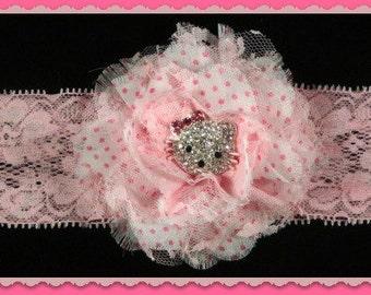 Pretty in Pink Kitty scintillant, bandeau bébé, Noël serre-tête, bandeau infantile, de photographie, bandeau de Noël