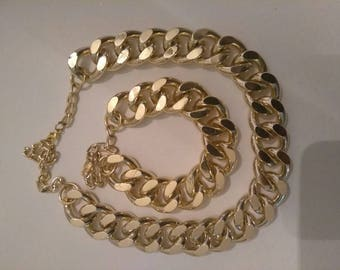Gold Chain Choker with matching bracelet