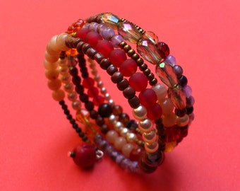 Red and Earthy Colours Mixed Beads Memory Wire Bracelet - Stacked coils bangle in red, brown, gold, cream and mauve - Natural earthy tones