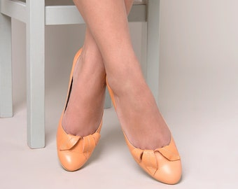 Orange flat shoes leather hand made