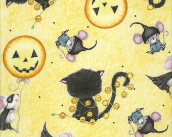 Fat Quarter Charmed Halloween Cat and Mice Yellow 100% Cotton Quilting Fabric