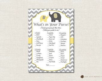 Elephant Whats in Your Purse Shower Game - Whats In Your Purse Baby Shower Game, Printable Baby Shower Games, Yellow and Gray -Printable