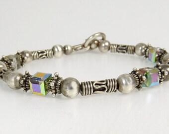 Ethnic Tribal Sterling Silver Beaded Bracelet