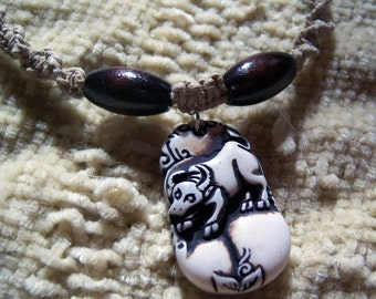 Natural Hemp Choker with Bull and Wooden Beads