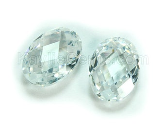 10x14mm Oval Cubic Zirconia CZ Double Faceted Checker Cut - Diamond Clear - 1pc