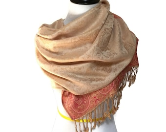 Pashmina Scarf Pink Scarf Beige Scarf Pashmina Shawl Gift For Her Pashmina Wrap Women Accessories Mothers Day Pashmina Scarves Gift Idea