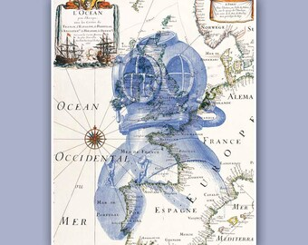 Casque de plongeur Print sur l'ancienne carte, 1857 français illustration, carte Art décoration murale, bord de mer art nautique, décor côtier, imprime. Oeuvre de bord de mer
