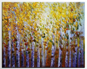 Tree Painting, Original Painting, Oil Painting, Living Room Wall Art, Canvas Art, Contemporary Art, Abstract Art Painting, Landscape Art