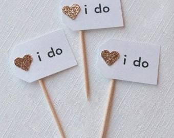 12 i do cupcake toppers, wedding cupcake toppers, rose gold cupcake toppers, heart cupcake toppers, i do cupcakes, rose gold, i do picks