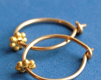 Gold Sleeper Hoops / Tiny Gold Hoops / Little Hoop Earrings / Gold Hoops / Half Inch Hoops / Nickel Free