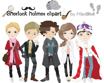Sherlock holmes  character clipart ,Instant Download,PNG file - 300 dpi