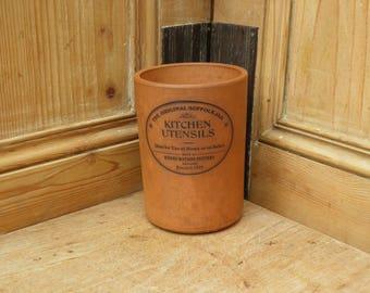 Vintage 'the original suffolk canister' kitchen utensils storage pot. Terracotta kitchen storage, Henry Watson Pottery, Country Farmhouse,