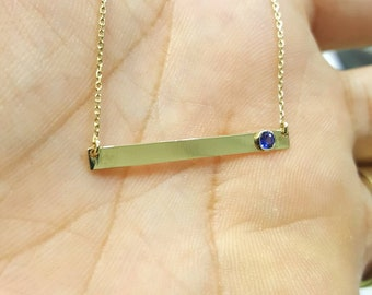 14k Solid Gold bar necklace with birthstone, 3x3 Bar Necklace, Bar Necklace Personalized Bar Necklace Monogram Gold Name Bar, Engrave name,