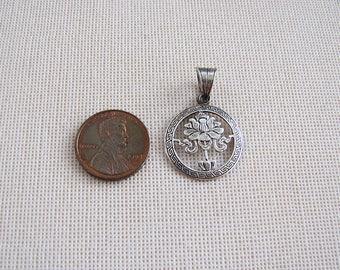 Vintage small ornate lotus sterling silver Pendant