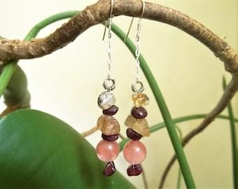 Earrings gemstones: Strawberry, rutilated quartz, Garnet quartz