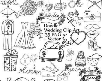 "Doodle wedding clipart: ""WEDDING CLIP ART"" wedding dress tuxedo clipart diy clipart wedding graphics cake shoes car camera ring vector"