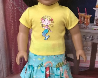 Mermaid 18 inch girl doll clothes, american doll shoes, mermaid doll skirt set, doll hair accessories, Ready to Ship