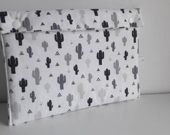 Diaper clutch, pouch layers - black and white cactus
