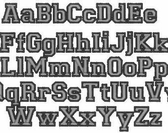 Sport, collegiate, block mini Font machine embroidery designs - many sizes, BX embroidery, bx font alphabet sport