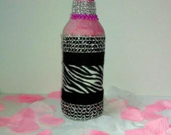 Handcrafted Pink Zebra Glitz & Glam Bottle