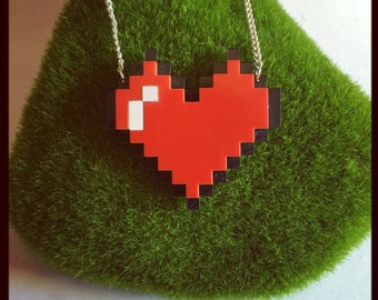 Acrylic Pixel Heart Necklace