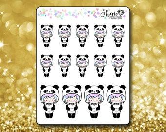 Luna Panda Stickers - Planner Stickers Erin Condren Life Planner Cute Emoji Panda Character Girl Stickers  Happy Planner