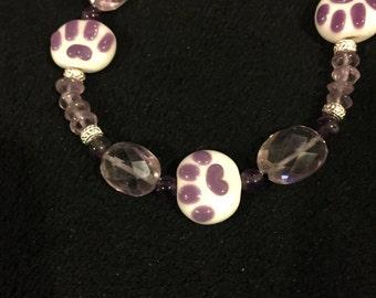 Lampwork kitty paw bracelet with amethyst