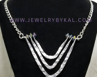 The Chevron - Silver Aluminum Hammered Statement Necklace with Rainbow Accent Beads