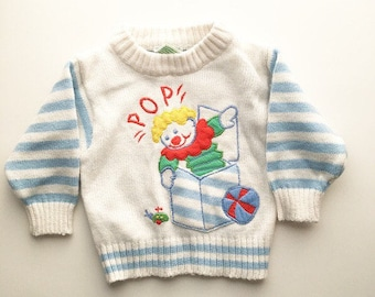 Jack in the box vintage baby sweater POP goes the weasel