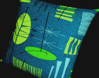 """Tiki Retro Throw Pillow Cover -- Teal and Lime - Premium Reproduction Barkcloth - shown with 18"""" x 18"""" inch insert - Many Sizes Available"""