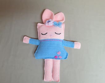 Crocheted bunny pillow pal, Ready to Ship, pink rabbit plushie, sparkly, shimmer