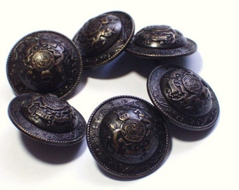 6 Bronze Antiqued Crest Style Metal Buttons 21mm Very Good Quality Buttons Set with Shanks